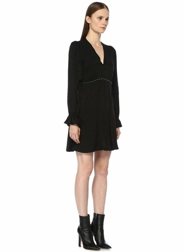 Academia V Yaka Leopar Desenli Zincirli Mini Elbise Siyah